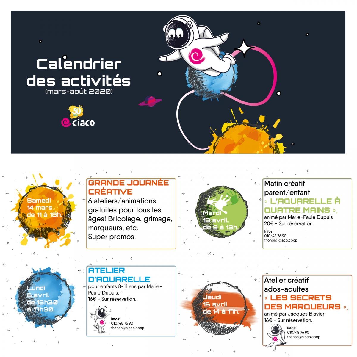 Calendrier des activités (mars-août)